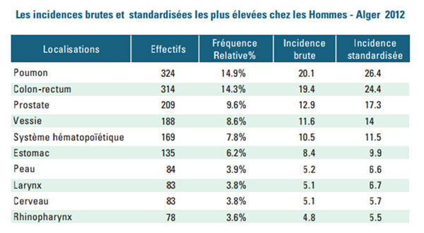 Les incidences brutes et standardisées les plus élevées chez l'hommes - Alger 2012