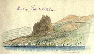 Un rocher sur la côte de Calabre à l'entrée du détroit de Messine